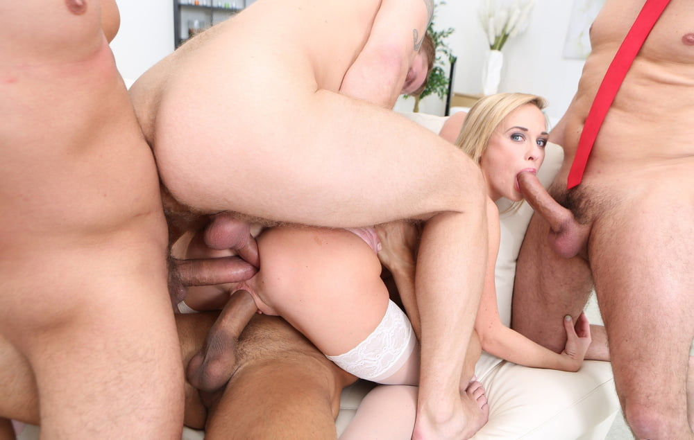 Triple gangbang on blondes rough sex sexy