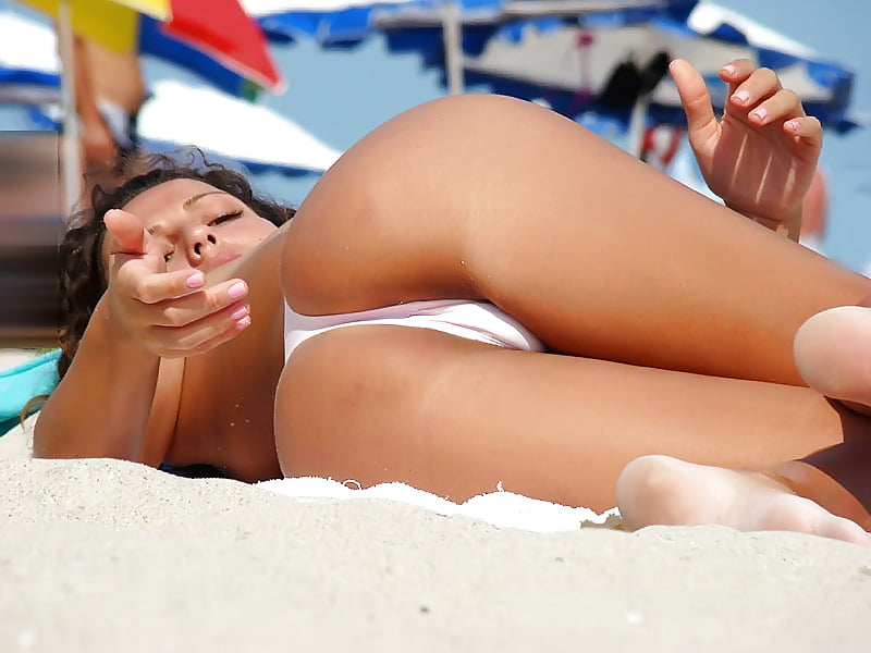Cute beach girl upskirt bright hot nude