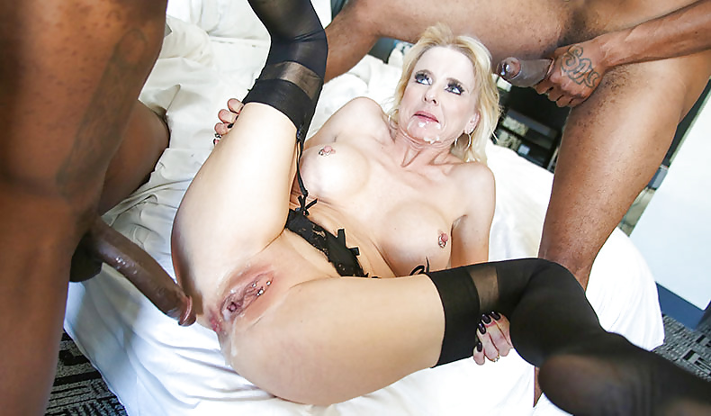 Slutty granny getting a stiff cock up her ass