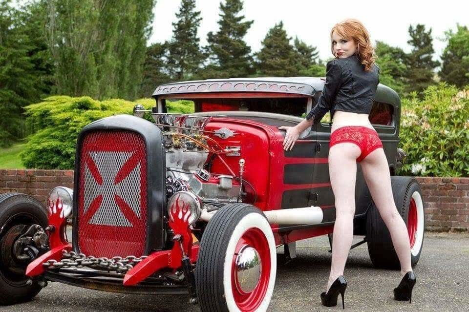 Sexy Woman With Hot Rod Images, Stock Photos Vectors