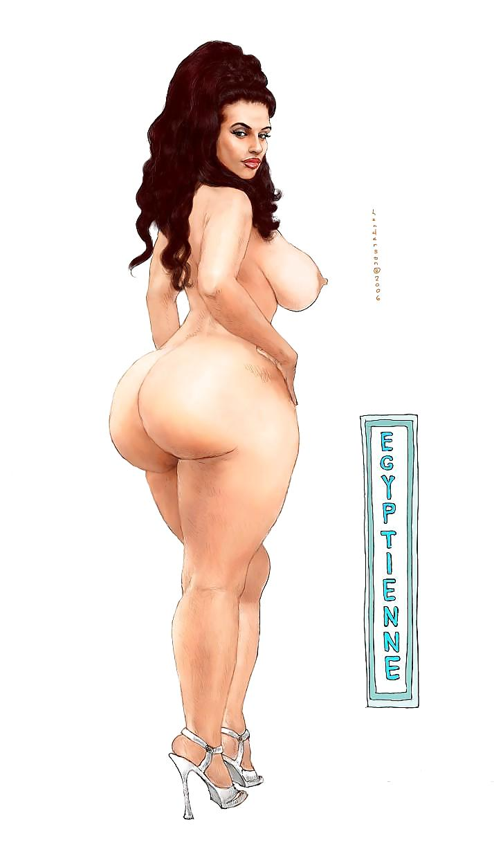 Drawing of big booty naked lady, oiled up naked booty