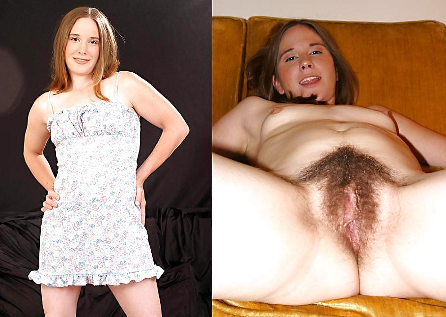 Hairy women dressed and undressed