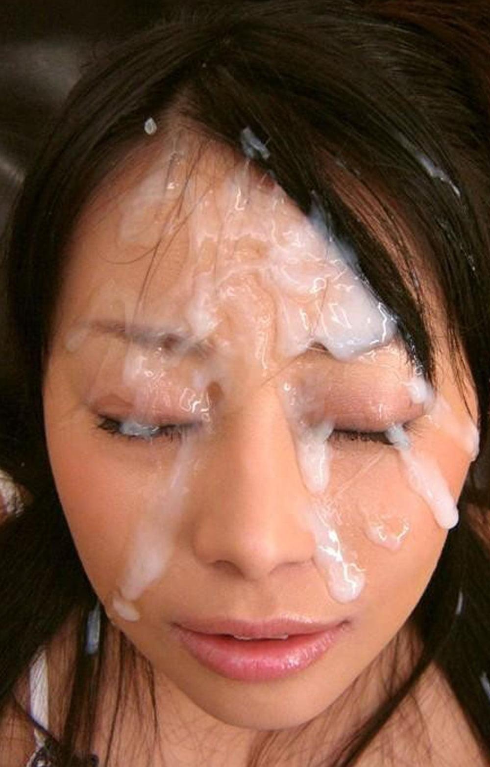 Asian girl messy facials girdle