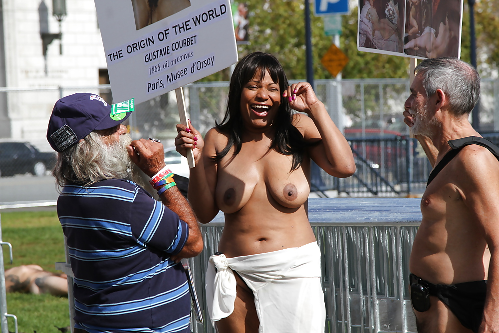 Naked Protesters Condemn Nipple Censorship