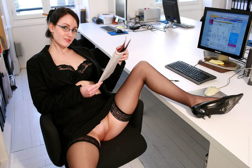 Dressed for office white shirt with black bow and black skirt