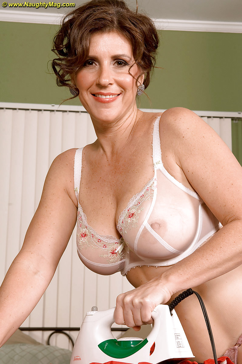 Mature cherry has trouble finding the right bra