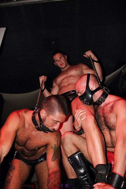 Leather bondage guys