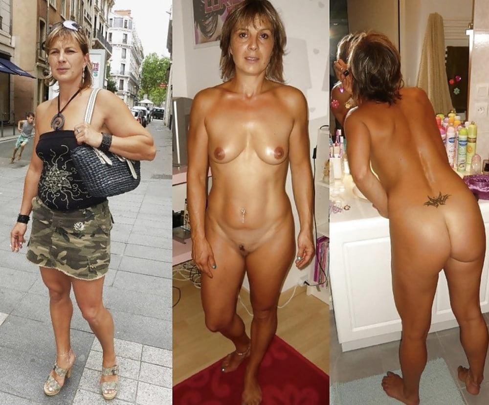 Embarrassed nude mature wife