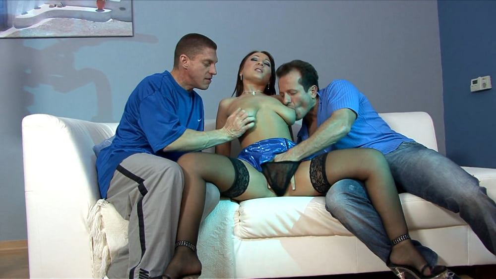 CHANTAL FERRERA in black stockings gets fucked in threesome - 147 Pics