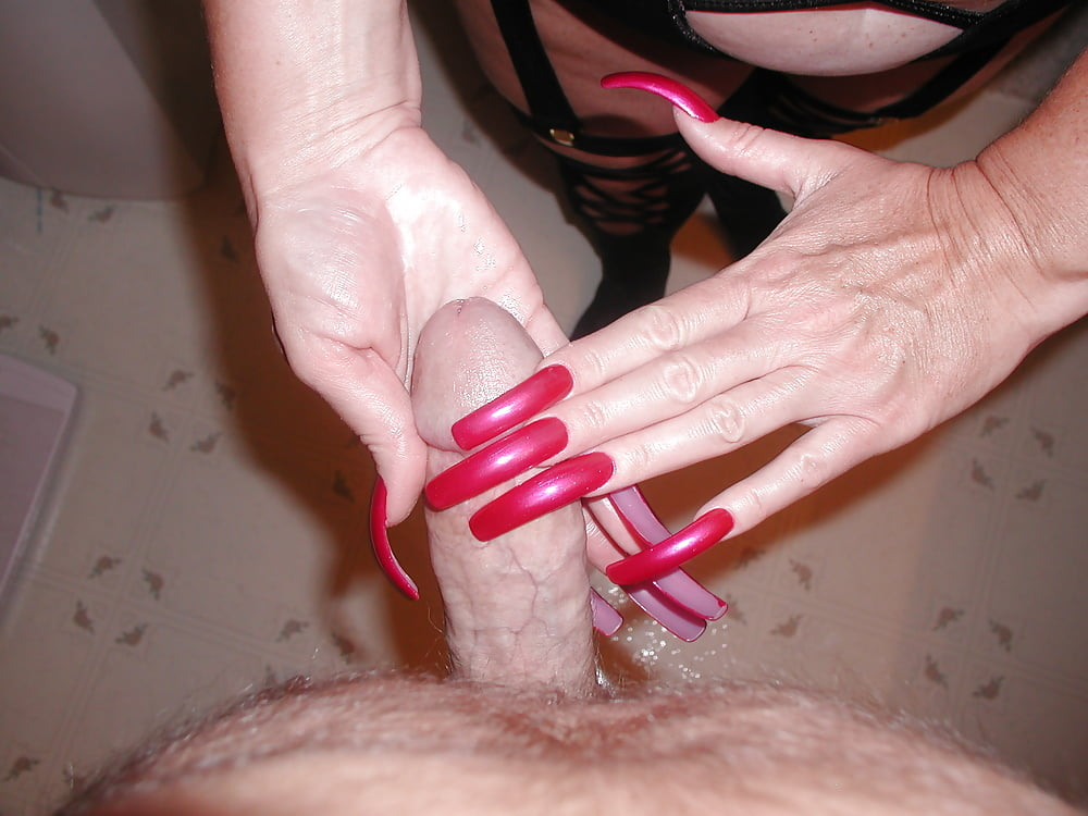 Hand job with freshly manicured nails