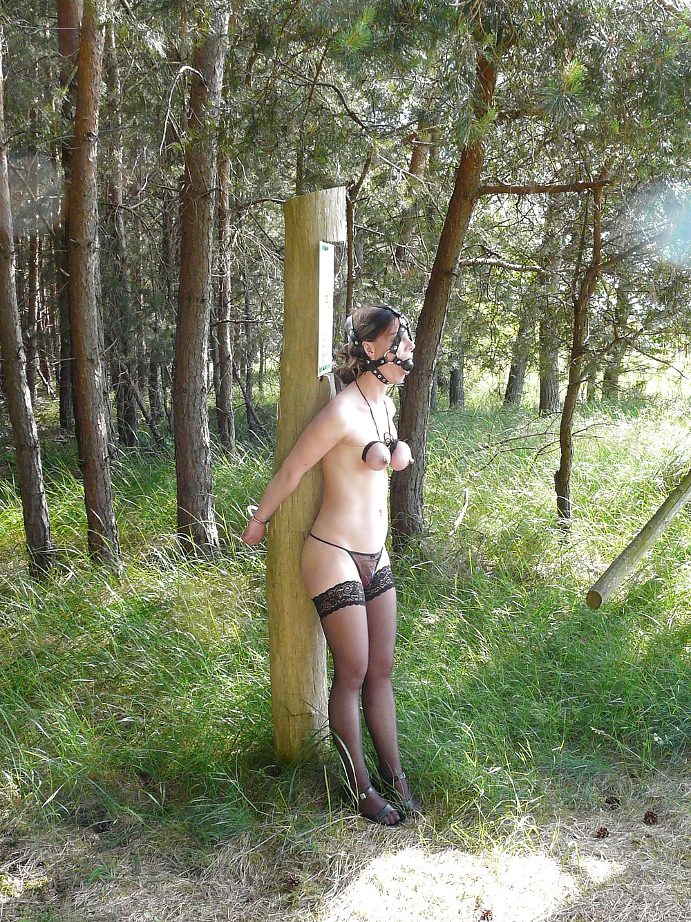 Amateur bondage outdoor