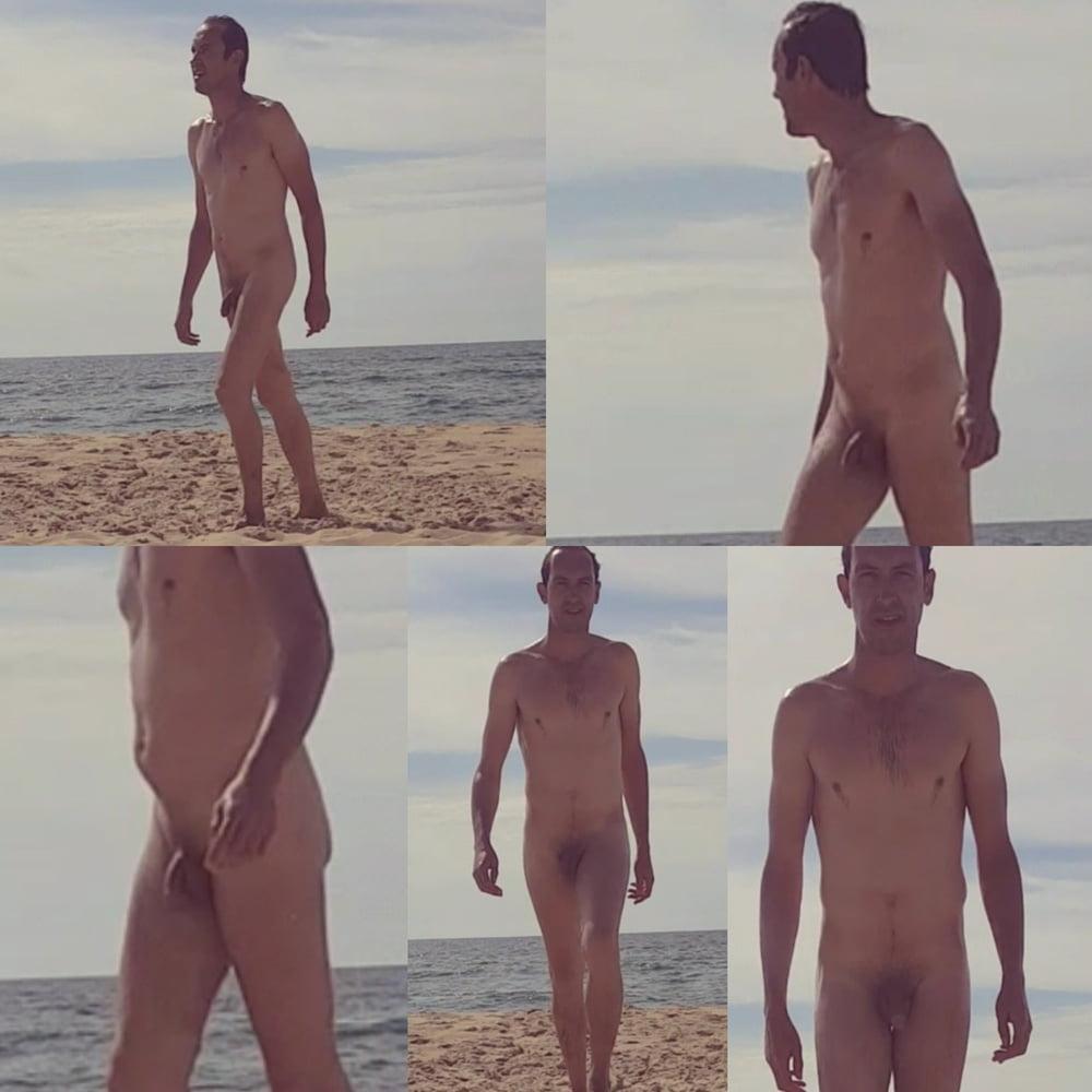 Nudist men at beach