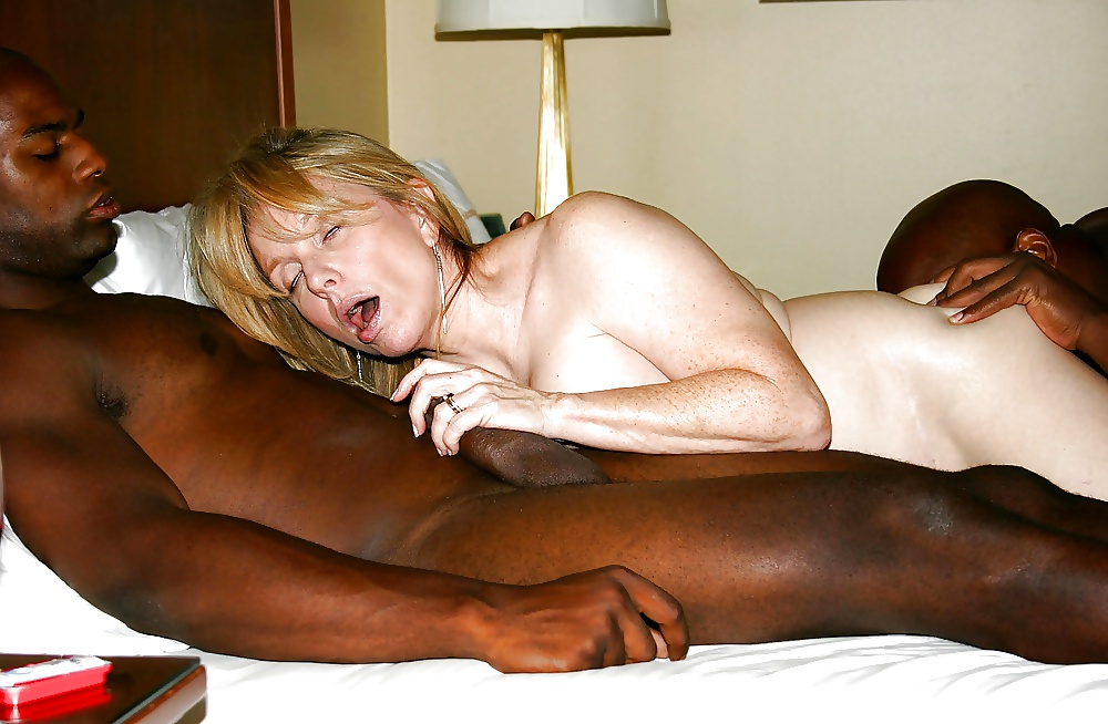 Mature blonde milf with black guys sucking his big black cock and gets her pussy fucked deep