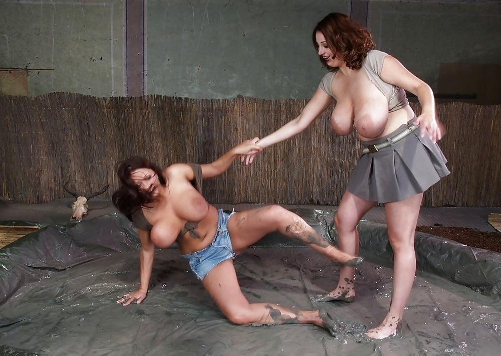Male female mud wrestling