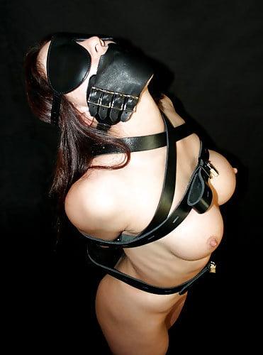 Leather Padded Hood Mask Blindfold Head Restraint Harness Mask, BDSM Bondage Gimp, Sexy Costume