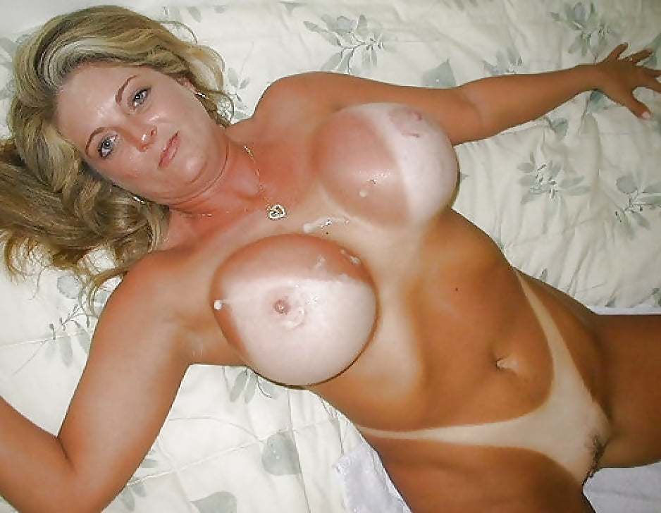 Busty Blonde Milf With Tan Lines Strips Lingerie