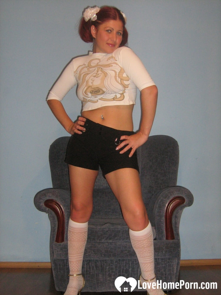 Flexible teen in knee socks uses a toy - 104 Pics