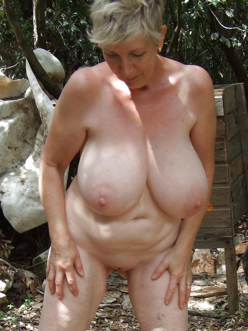 Older women hanging breasts
