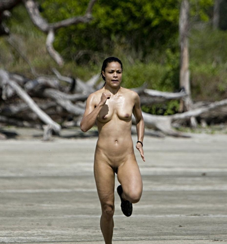 Nude girls running naked on beach