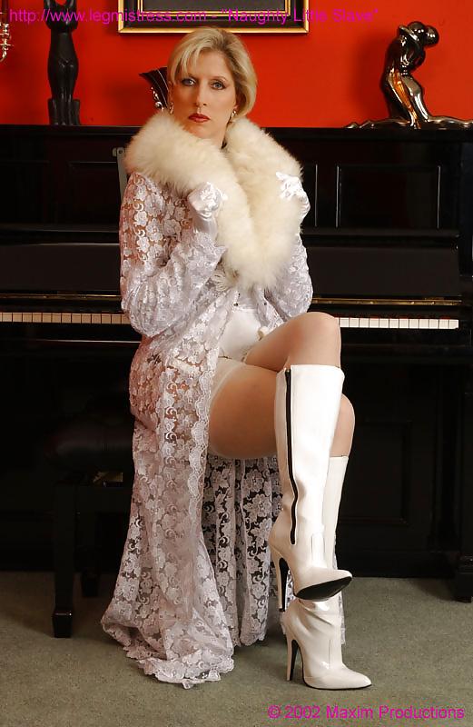 Mature stockings and fur coat