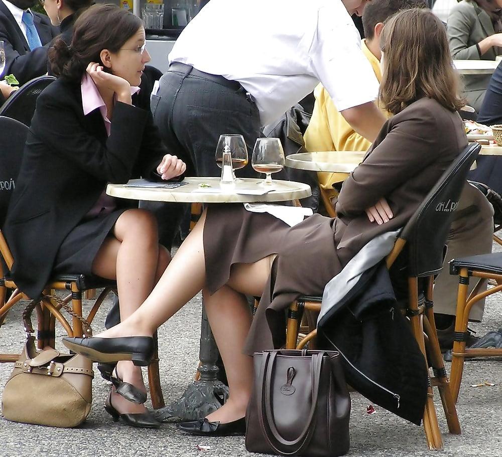 Posh milf upskirt in stockings, heels and cocktail dress