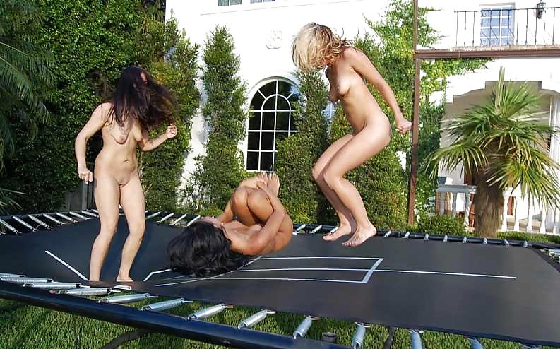 The nude on the trampoline