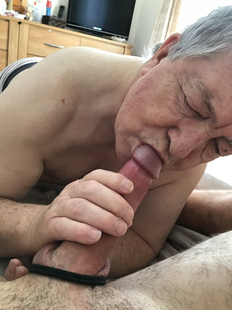 Pissing granny sucking grandpa's cock outdoors