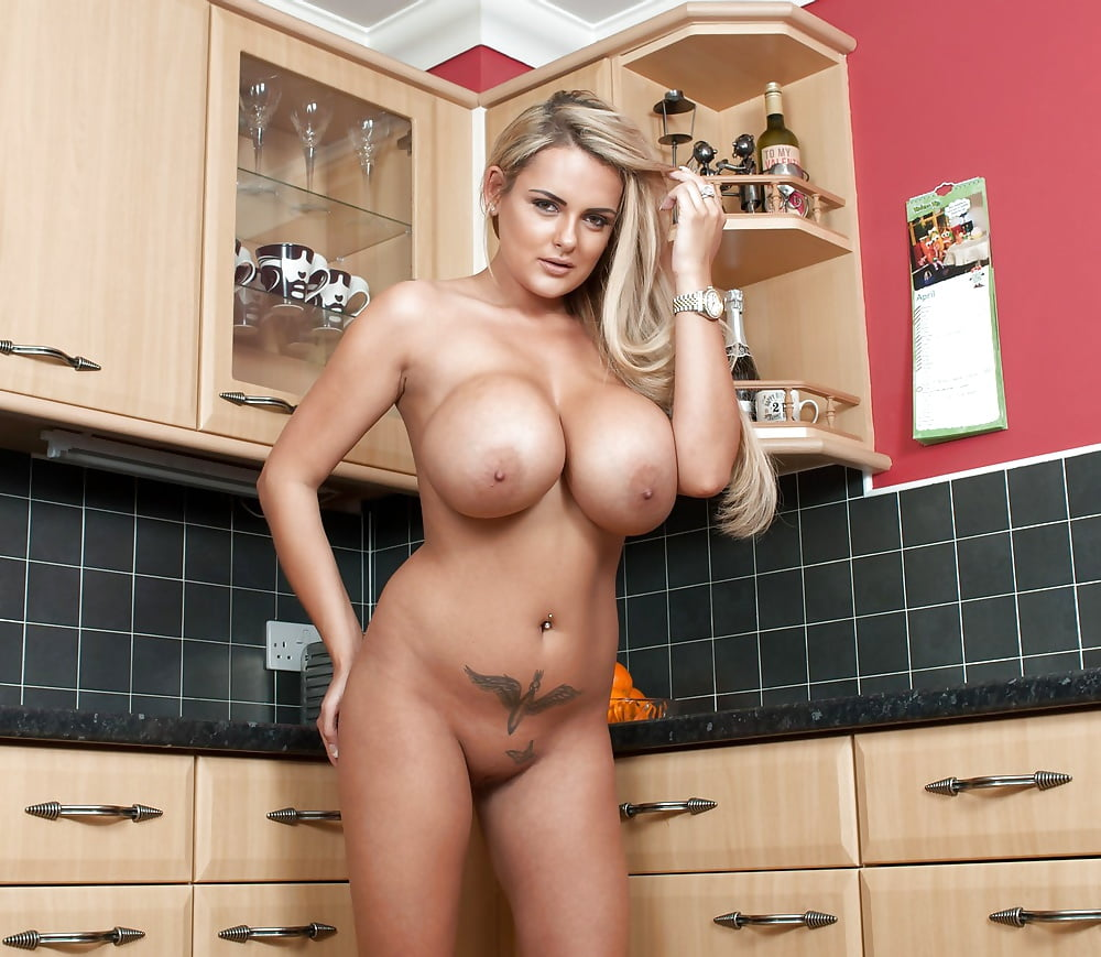 Sexy Euro Female Alison Star Displays Nice Ass And Big Natural Tits In Kitchen