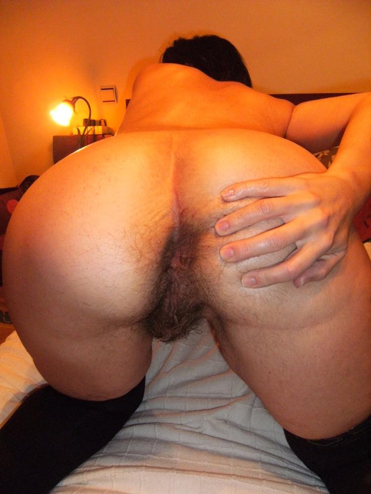 Amateur wife licking husband's hairy asshole