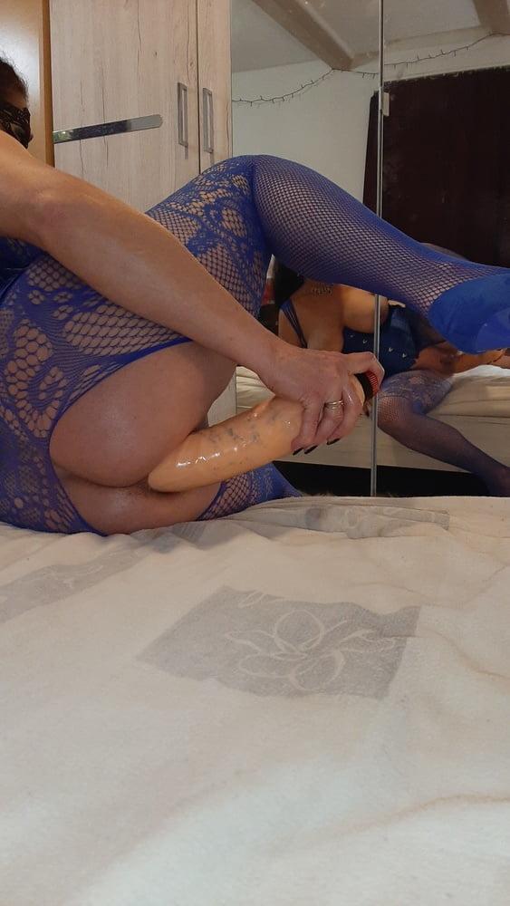 Sexy Milf blue dress by Wildcat - 47 Pics