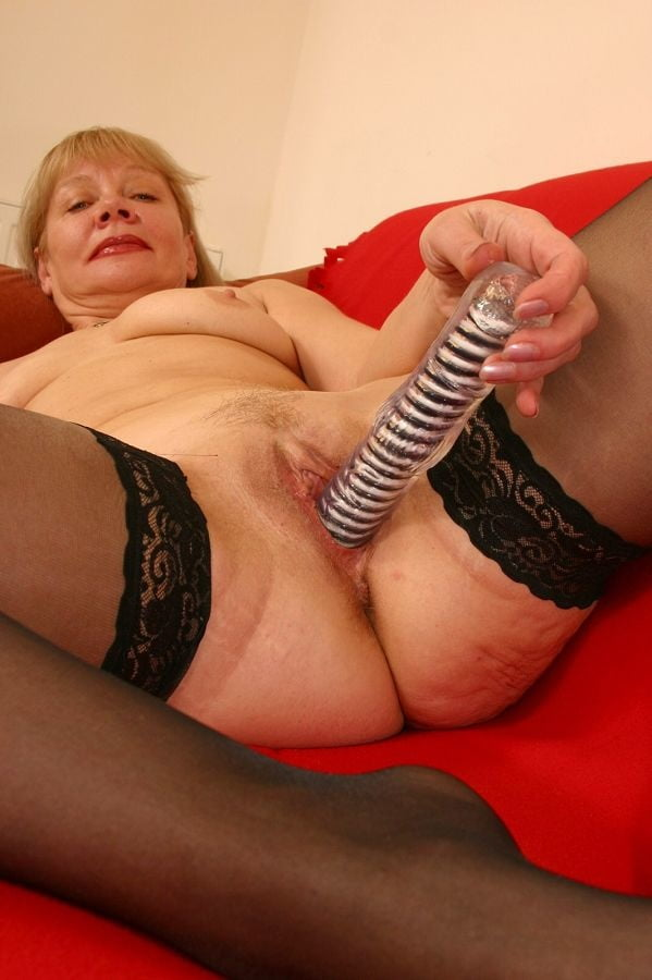 Playing granny with dildo close up sexy