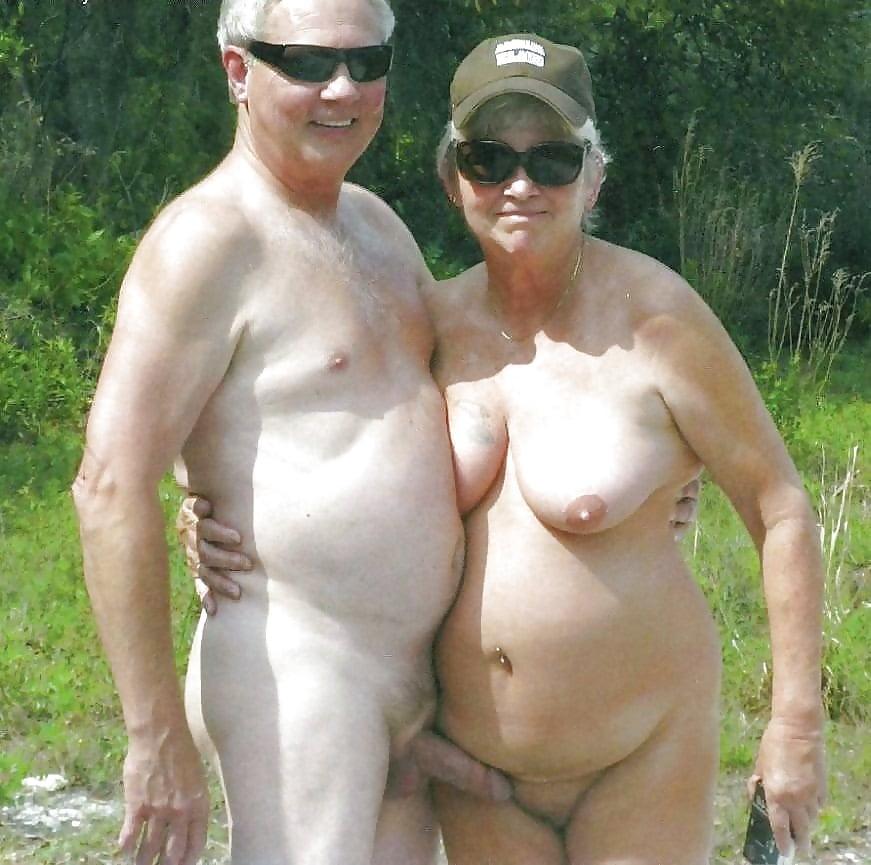 Old mature senior nudist couples