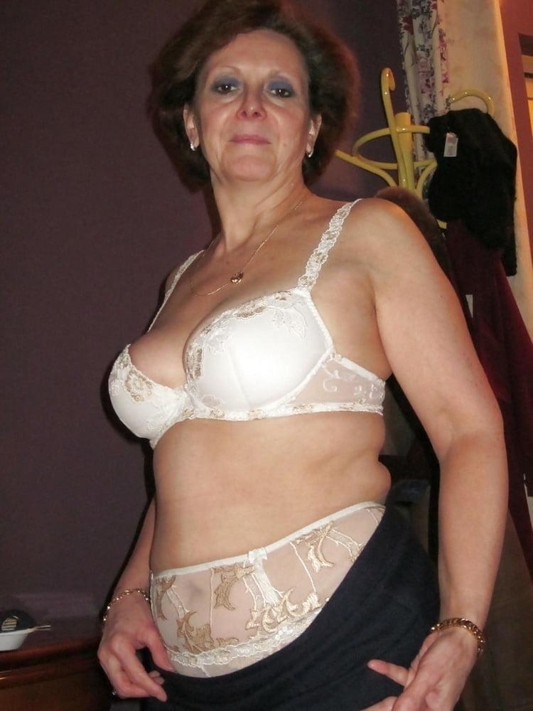 Aunty white bra