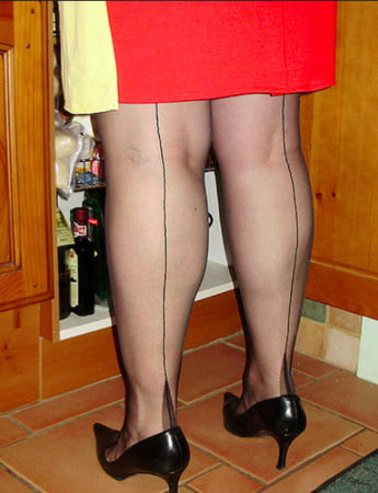 ff seamed stockings and suspenders red dress and black heels