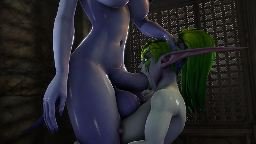 Female night elf smothers small girl with her ass - 1 part 5