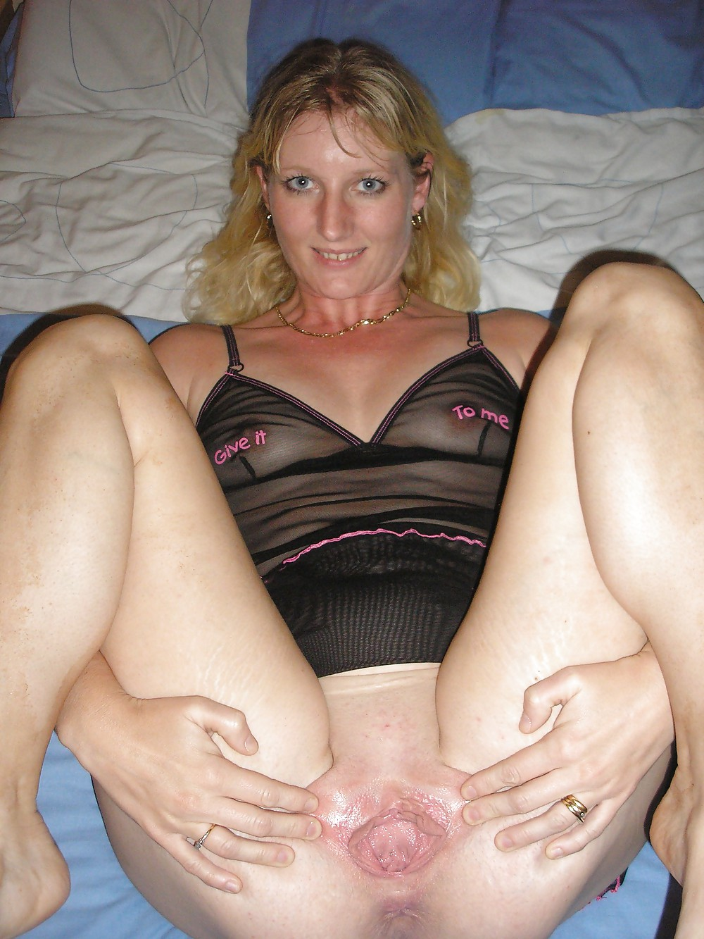 Milf Blonde Woman Panties Amateur Mature Wife Wet Pussy -6531