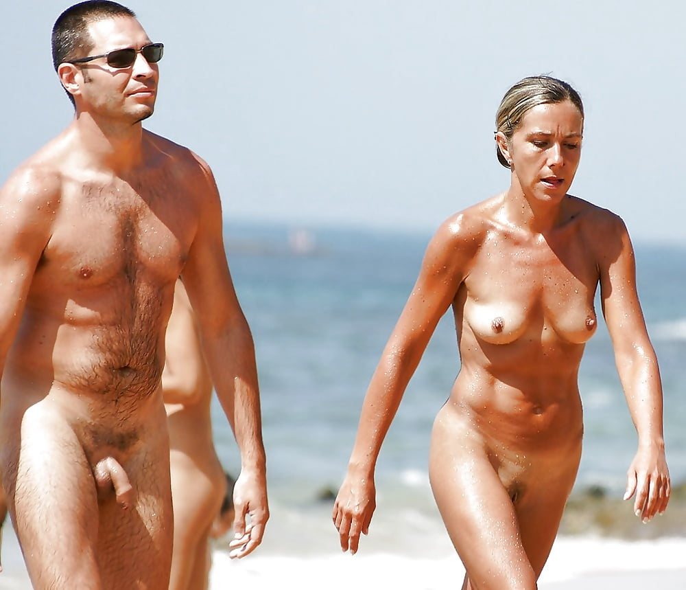 Naked couple walking