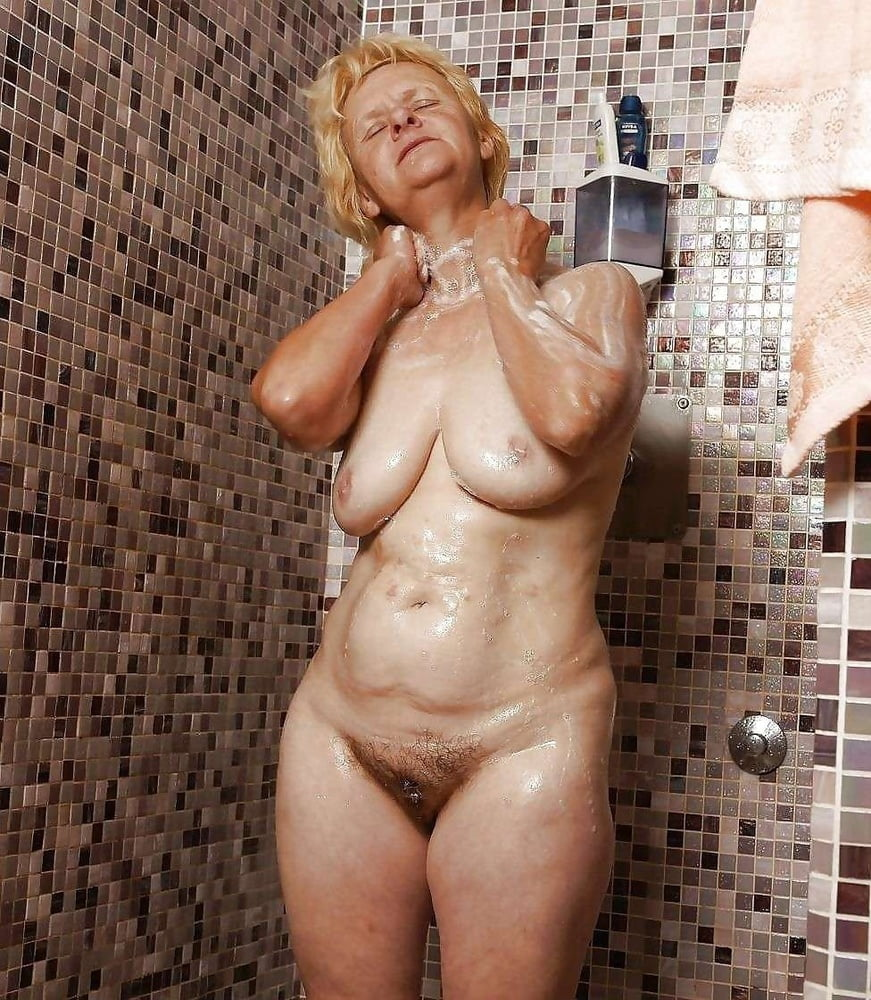 Horny granny in the shower