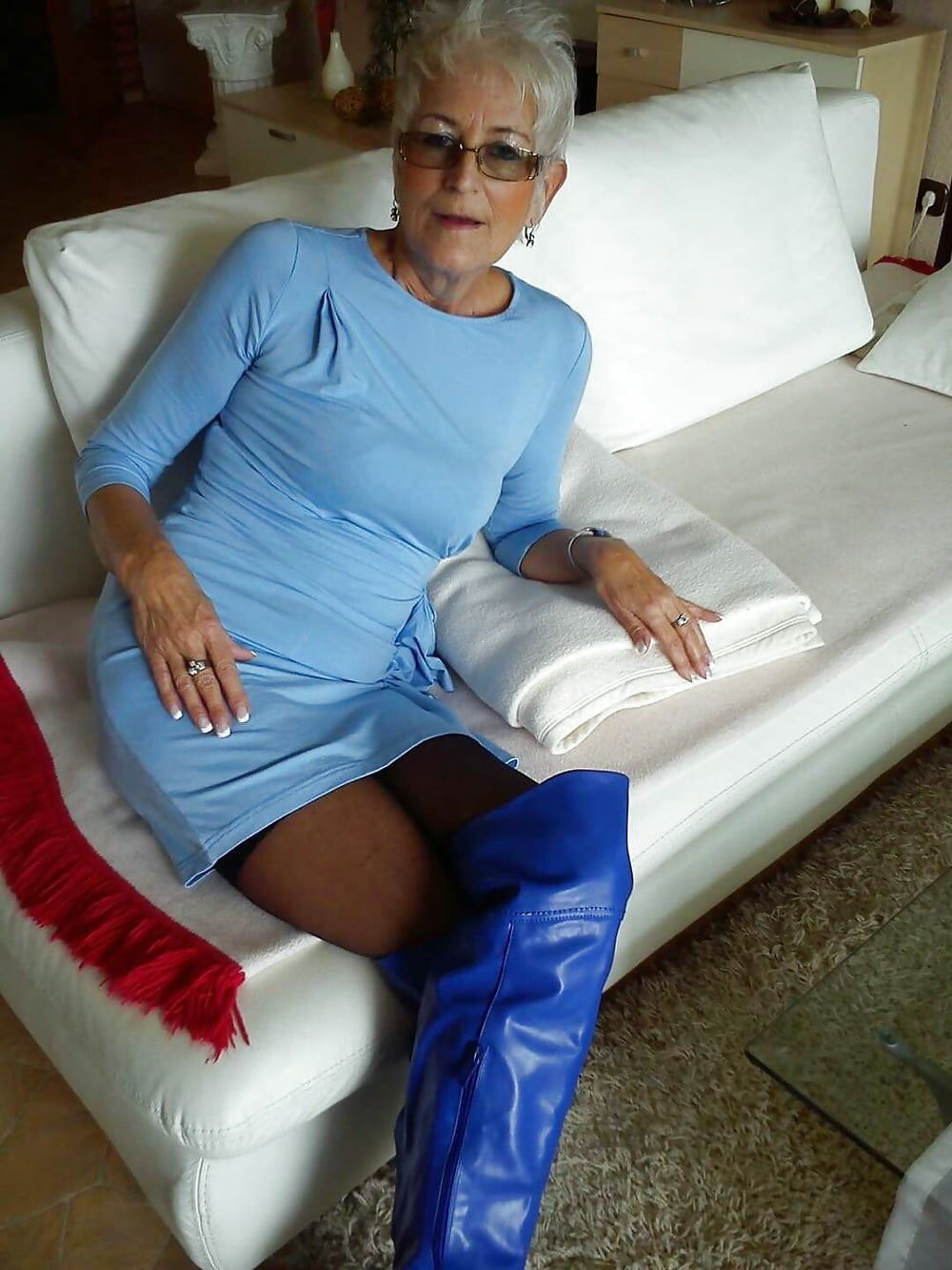Clear plastic boots and nylons
