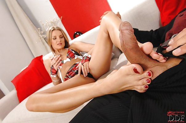 Footjob nylon feet