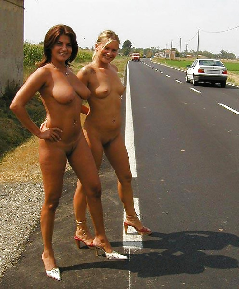 Naked girls on road trip