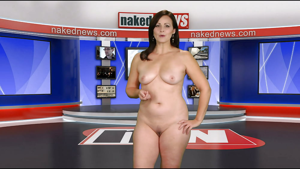 Female reporter in locker room