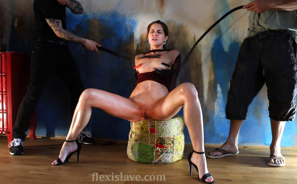 Skinny Cindy Shine dominated and whipped by 2 masked guys - 53 Pics