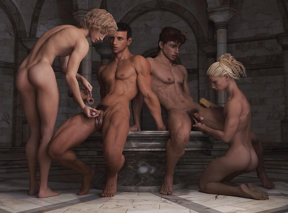 Nude girl and nude boy