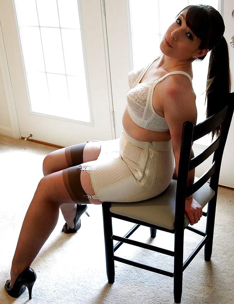 Big bondage bra girdle tit in branded slave girl, extreme bondage and discipline
