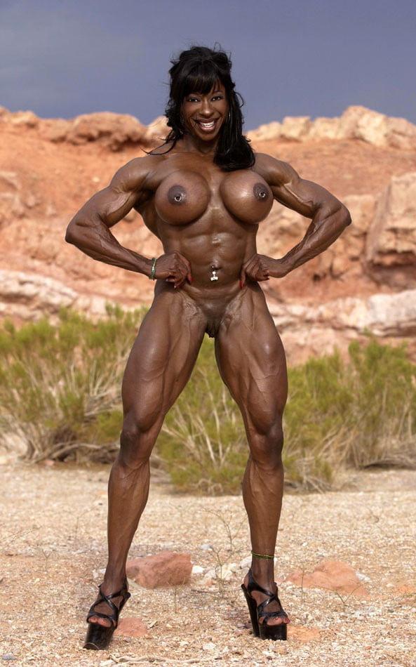 Muscular ebony with big tits