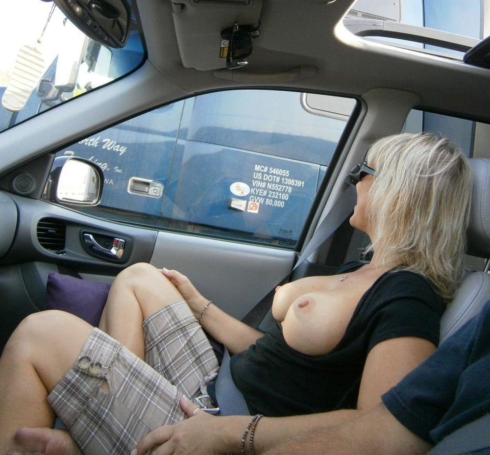 Driving with tits out