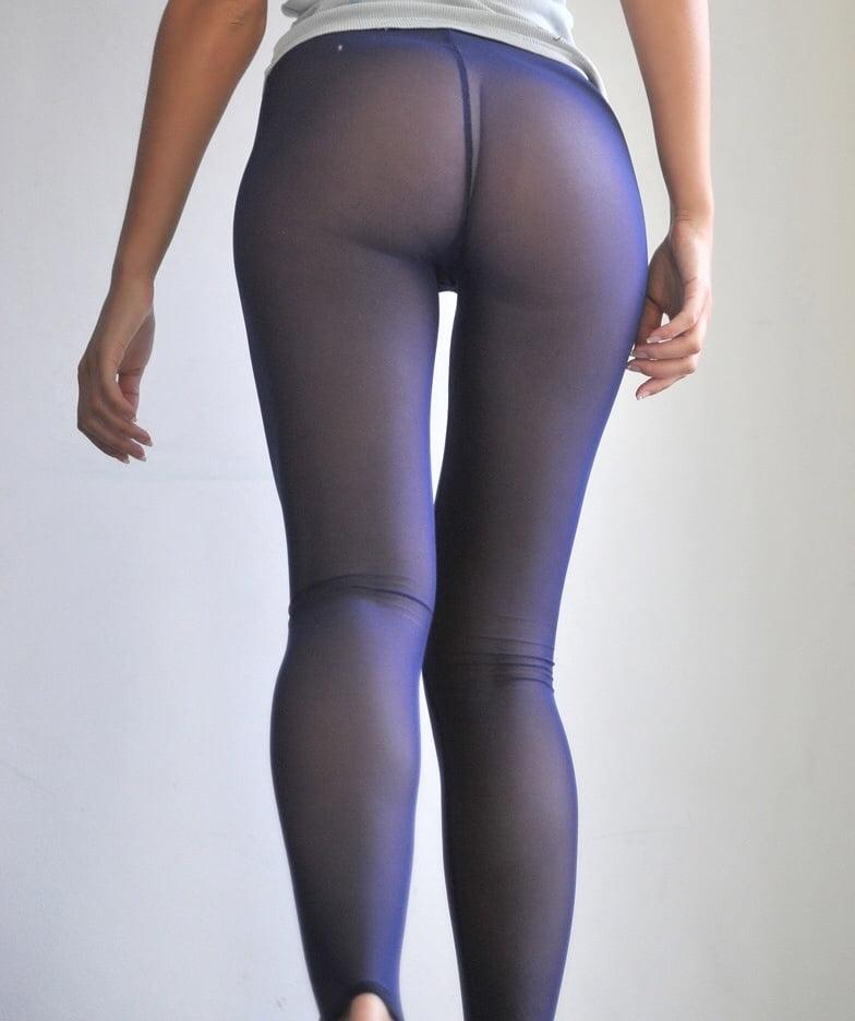 Bulge in blue tights