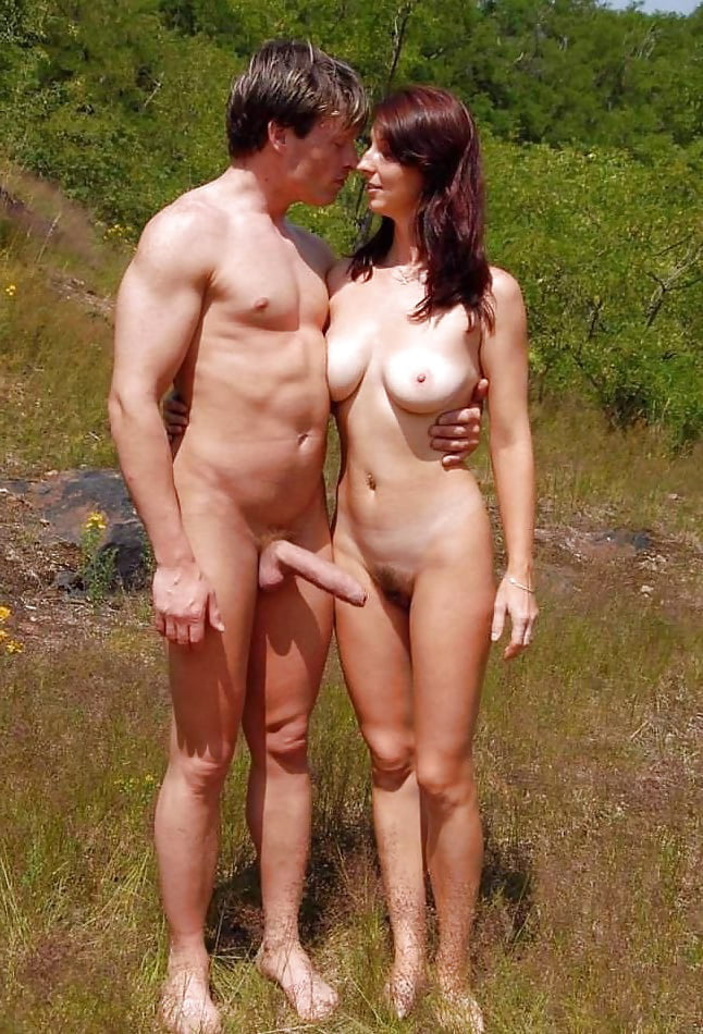 Nudist couple holding penis #9