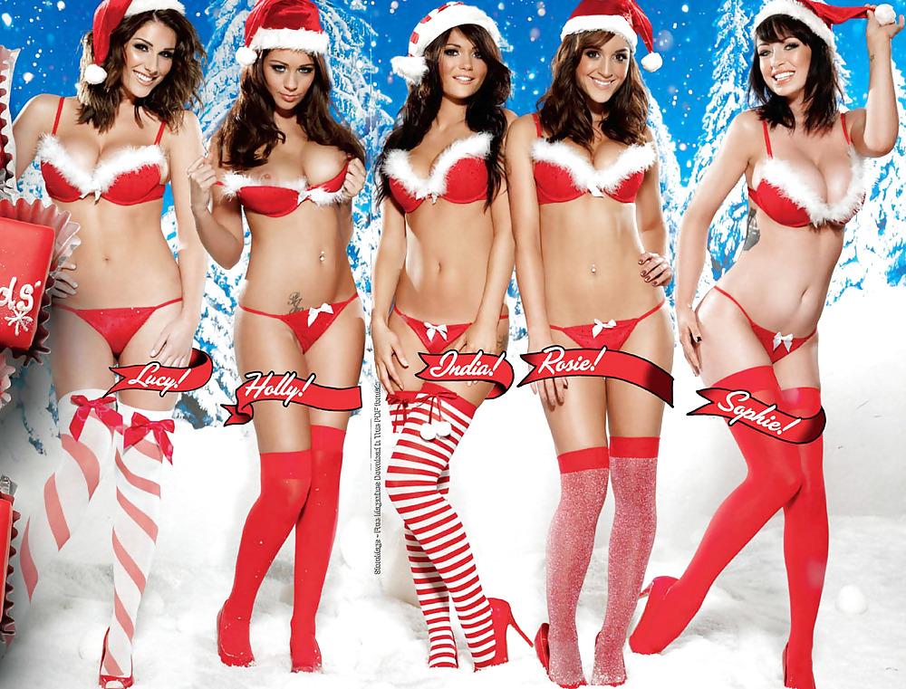 Sexy Christmas Girl Naked Brunette Girl Stock Vector